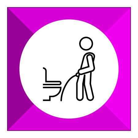urinating: Icon of man silhouette urinating in public restroom