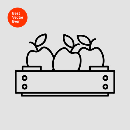crate: Icon of apples in wooden crate