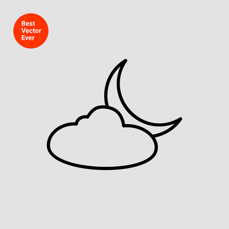 crescent: Icon of cloud and crescent moon
