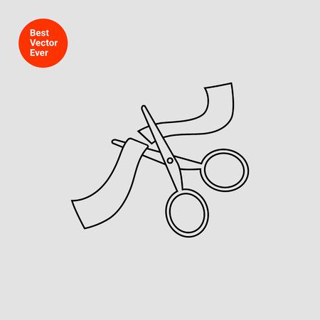 taglio del nastro: Icon of scissors cutting ribbon