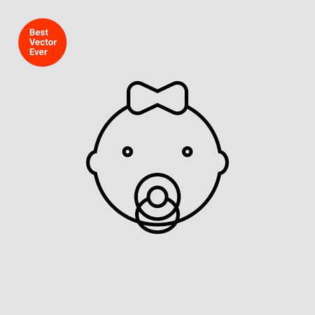 bebes niñas: Icono de la niña está con arco y chupete
