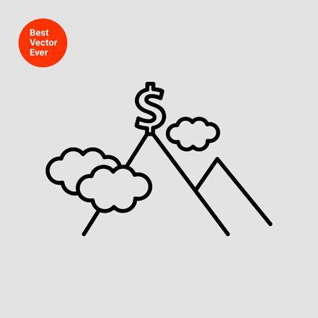 mountain top: Icon of dollar sign on  mountain top