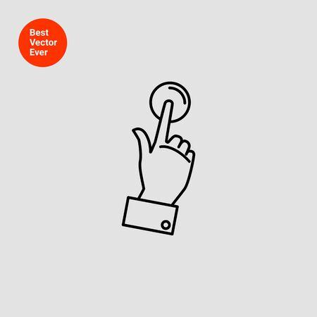 empujando: Icono del botón presionando la mano del hombre Vectores