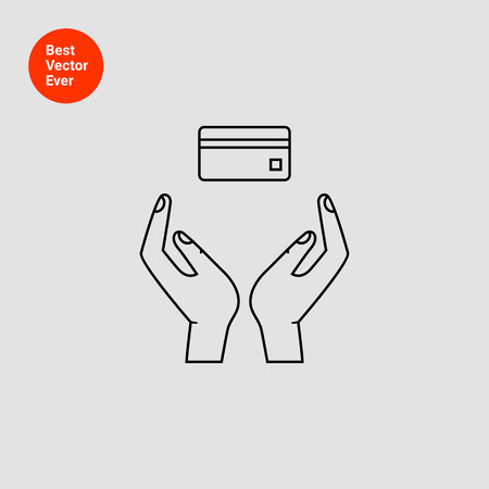 withdraw: Icon of human hands holding credit card