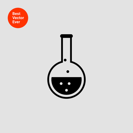 reaction: Icon of chemical laboratory flask with bubbling liquid Illustration