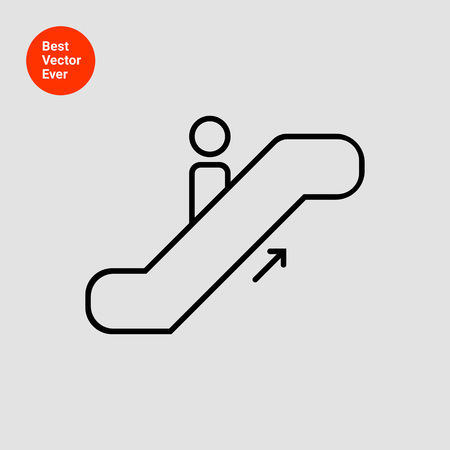 moving up: Icon of man silhouette moving up on escalator Illustration