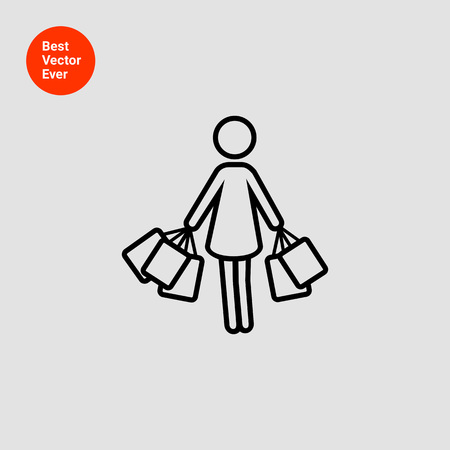 shopper: Icon of woman silhouette carrying shopping bags Illustration