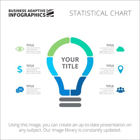 lightbulb: Editable infographic template of statistic chart in form of lightbulb, green and blue version