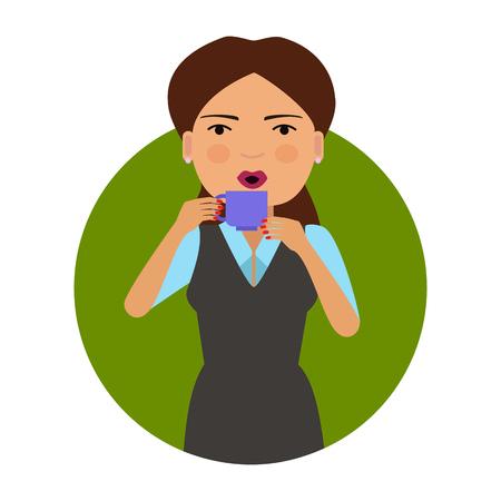 cabello casta�o claro: Personaje femenino, retrato de la taza Mujer celebraci�n y beber bebida caliente Vectores