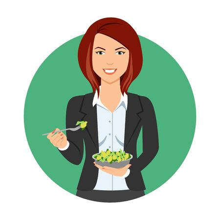 medium length: Female character, portrait of smiling businesswoman eating green salad Illustration