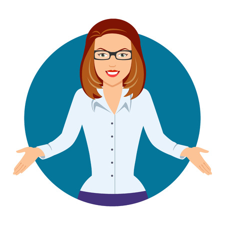 businesswoman skirt: Female character, portrait of puzzled businesswoman in glasses