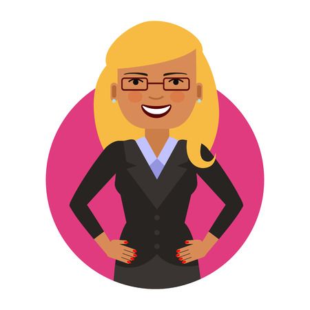 blond hair: Female character, portrait of smiling businesswoman with hands akimbo