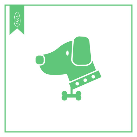 dog collar: Vector icon of dog wearing dog collar decorated with bone pendant