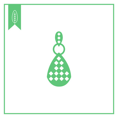carats: Vector icon of one earring with gemstones