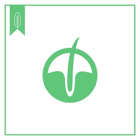 follicle: Icono del vector del fol�culo piloso en el c�rculo