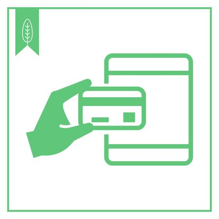 cashless: Vector icon of human hand holding credit card at ATM