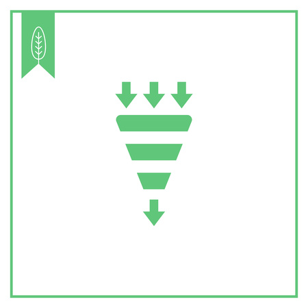 Vector icon of funnel with incoming and outcoming arrows Illustration