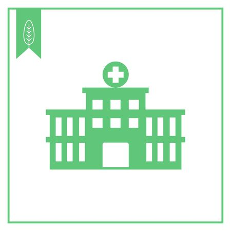 porch: Vector icon of hospital building front silhouette