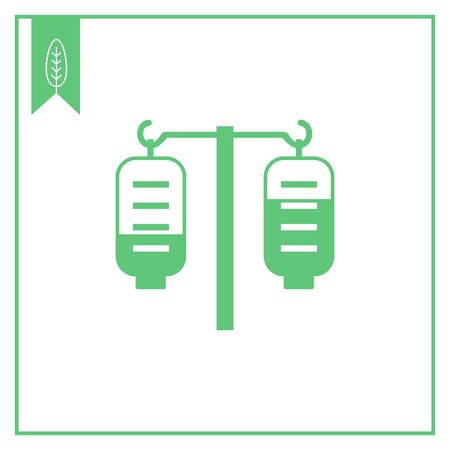 iv drip: Vector icon of medical drip with two iv bags Illustration