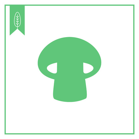 stipe: Vector icon of mushroom with cap and stipe