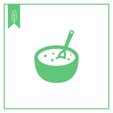 carbohydrate: Vector icon of bowl with porridge and spoon