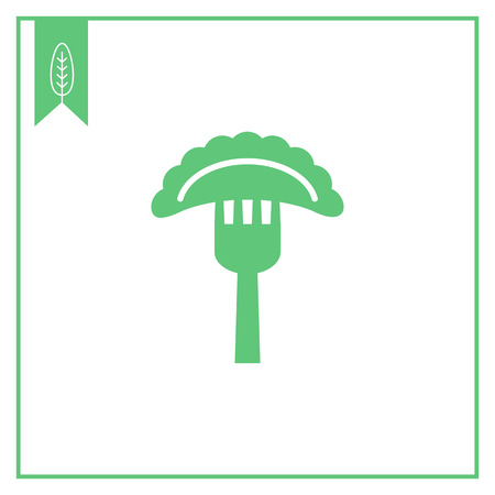 Vector icon of cooked ravioli on fork Stock Vector - 46863428