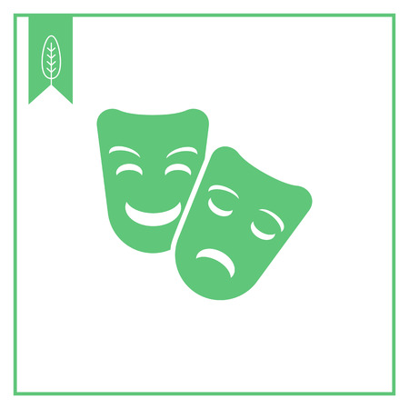 comedy and tragedy masks: Vector icon of comedy and tragedy theater masks