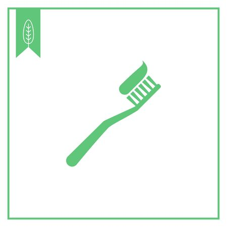 cleaning equipment: Vector icon of toothbrush with applied toothpaste portion Illustration