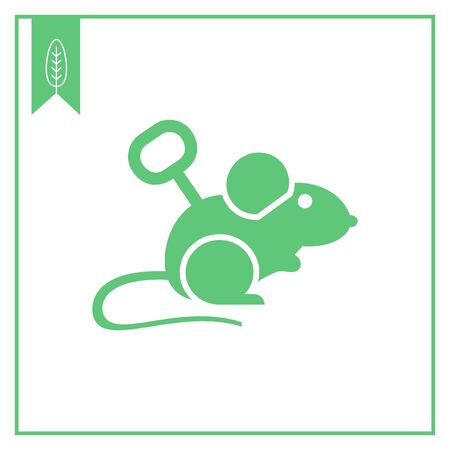 windup: Vector icon of windup mouse toy with key