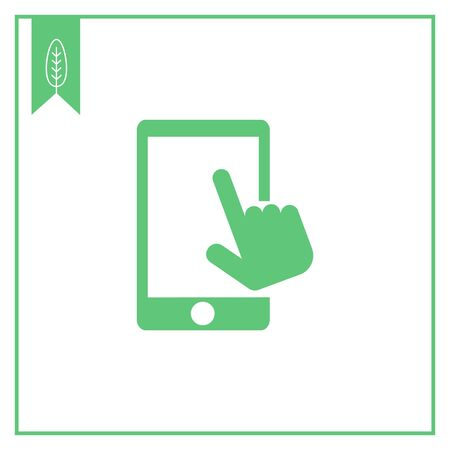 smartphone in hand: Vector icon of human hand touching smartphone screen