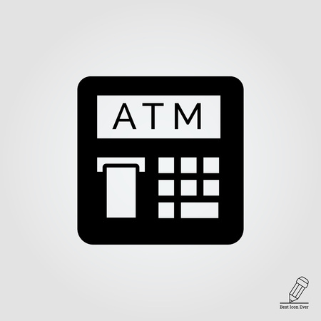 teller: icon of automatic teller machine with receipt