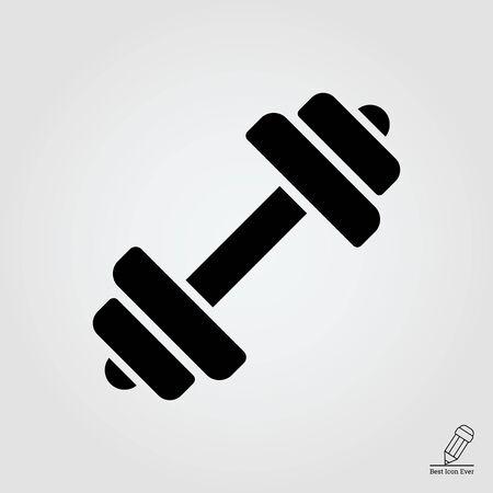 icona: icona del bilanciere con piastre di peso Vettoriali