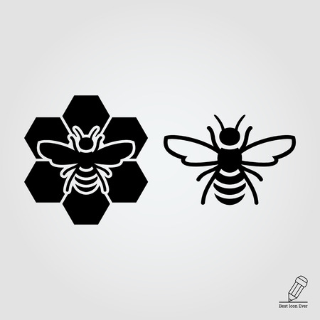 icon of bee and bee sitting on comb Banco de Imagens - 46815068