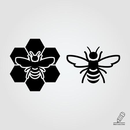 abeja: icono de la abeja y abeja sentado en peine Vectores
