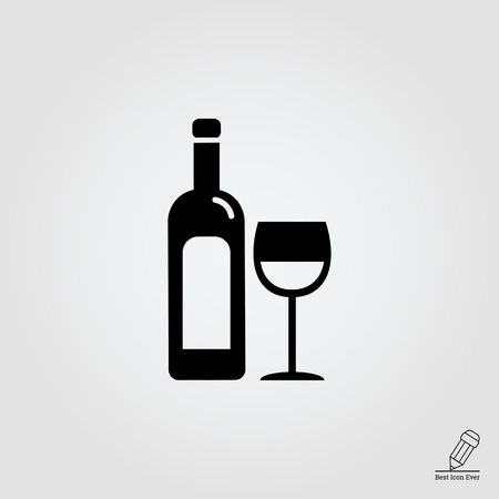 aperitif: icon of bottle of wine and wine glass