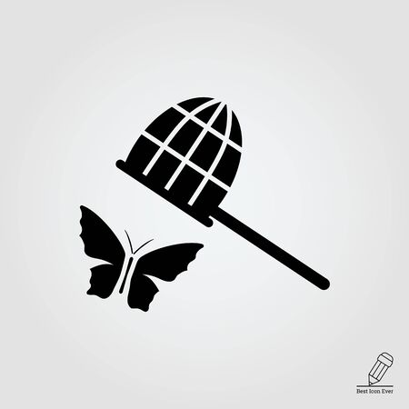 butterfly flying: icon of butterfly and butterfly net
