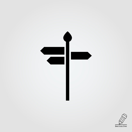 directions icon: icon of direction sign with arrow boards showing various directions Illustration