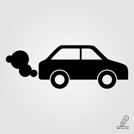 exhaust: icon of car emitting exhaust fumes Illustration