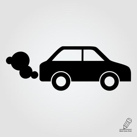 icon of car emitting exhaust fumes Illustration