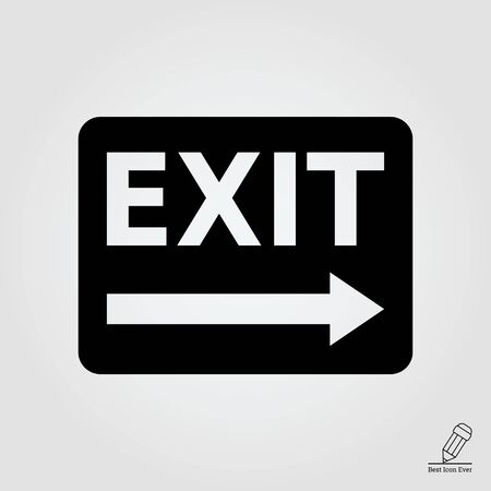 emergency exit label: icon of exit sign with arrow to the right side Illustration