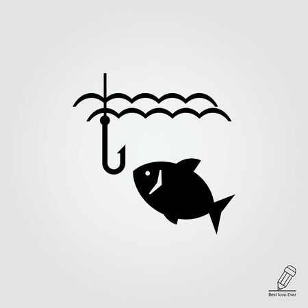 icon of fish swimming in water and fish hook
