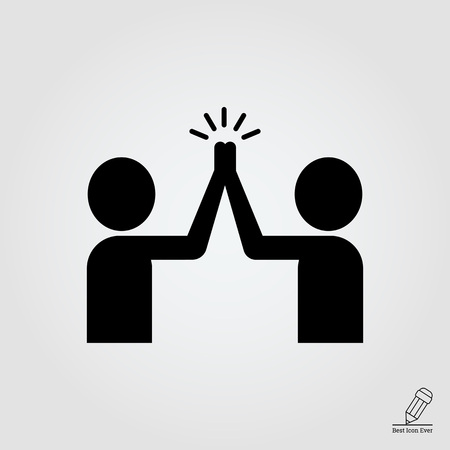 high five: icon of two men silhouettes giving high five