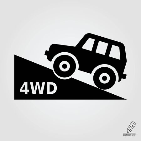 4wd: icon of four wheel drive car moving up hill