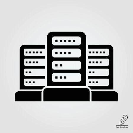 centro de computo: icono de red del grupo de servidores de datos Vectores