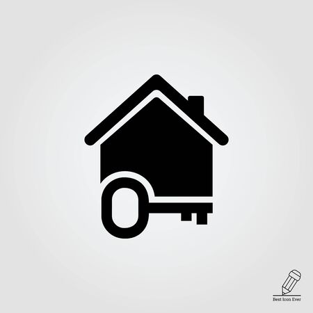 silhouette maison: icône de la maison silhouette avec clé