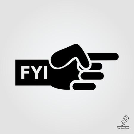 dedo indice: Vector icono de la mano humana con se�alar el dedo �ndice y FYI inscripci�n