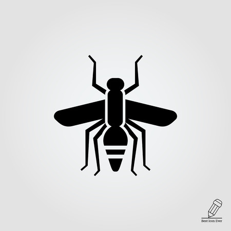 gnat: Vector icon of mosquito silhouette, top view