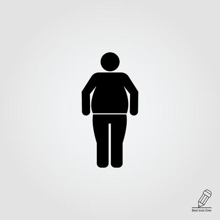 obesidad: Icono del vector de la silueta del hombre de pie obesos
