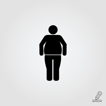 obesity: Vector icon of standing obese man silhouette Illustration