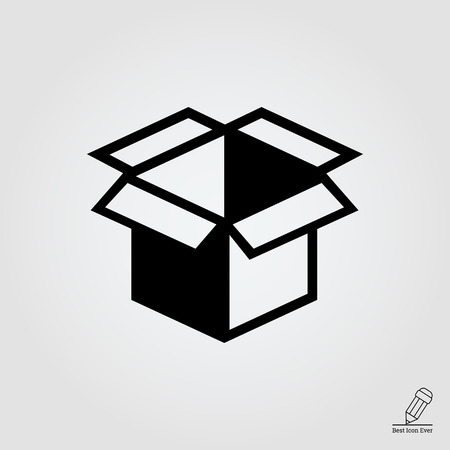 Vector icon of open empty cardboard box
